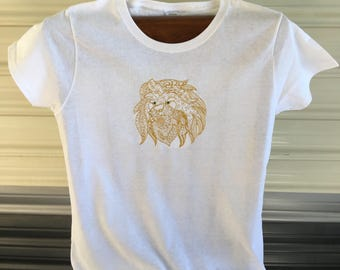 Custom Embroidered Lion Tee Shirt