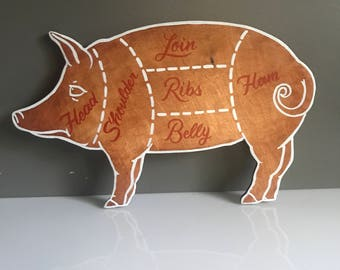 Hand lettered primal cuts pig, butcher chart