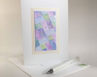 Birthday card: quilt design individually made from hand-painted paper, not a reproduction, A6, SKU BRA61005