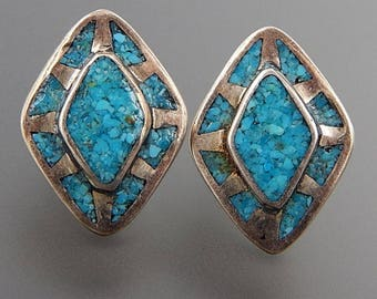 OBO - Navajo signed sterling silver crushed turquoise inlay marquise post earrings