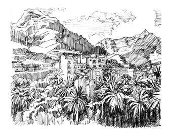 Gift under 20, Spain Landscape, Home Decor, Home Gifts, Black and White Sketch, Pencil Drawing,landscape, Art print of original sketch