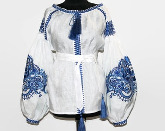 Embroidered Ukrainian Blouse Vyshyvanka Boho Blouses Folk Ethnic Ukraine Shirt Bohemian Clothing Custom Embroidery White Linen Chic Clothes