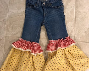 Girls size 3t Upcycled Bell bottom Pants