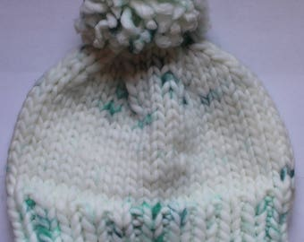Handmade Knitted Giant Pom-Pom Beanie Hat   White and Teal   Adult