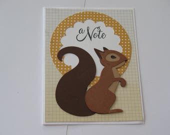 Squirrel note Card, Thank you Card, Hello Card, Thinking of You, Cricut Die Cut,