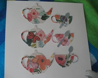 Unique Teapot and Teacup Die Cuts, card embellishments, scrapbook pages, flowered, invitations, thank yous
