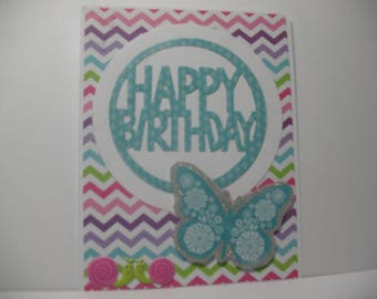 Pretty , Pastel Butterfly Birthday Card, Butterfly Die Cut, Snail stickers