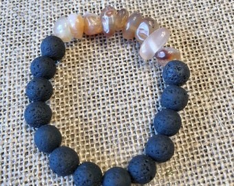 Orange Glass Beads - Black Lava Beaded Bracelet