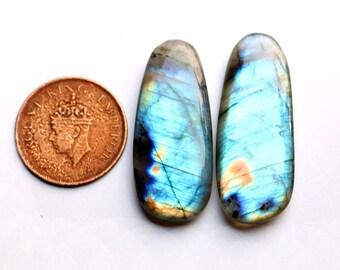 2pcs 1 pair 86cts. 43x17mm 100% natural blue flash labradorite slice plam Both side smooth hand polish jewelry making rocks gemstone  SKU078