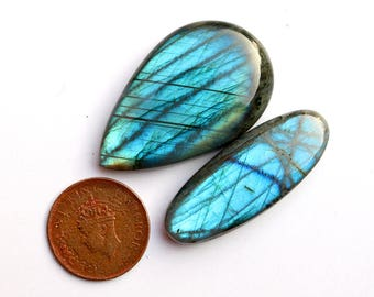 2pcs 169cts. 49x30mm 100% natural beautiful blue fire quality labradorite Cabochon smooth hand polish jewelry making gemstone  SKU00193
