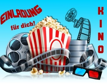 8 Einladungskarten Kino Film Geburtstag Kinder Kindergeburtstag Einladungen  Hollywood Cinema Popcorn