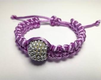 Pink satin bracelet with round bead