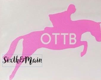 OTTB Horse Car Decal, Horse Car Decal, Thoroughbred Car Decal, Horse Car Sticker, Jumping Horse Decal, Thoroughbred Decal, Race Horse Decal