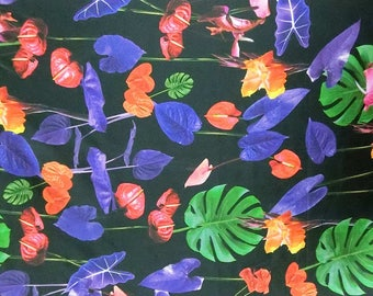 Discounted 2Way Stretch Digital Floral on black print silk satin charmeuse fabric material 135cm wide By the Yard DLD 6601