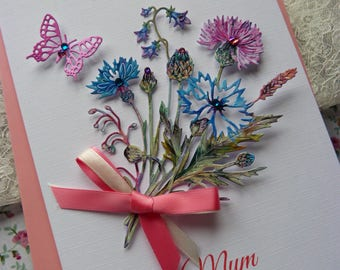 Handmade Personalised Luxury Mother's Day Card 3D wild flowers