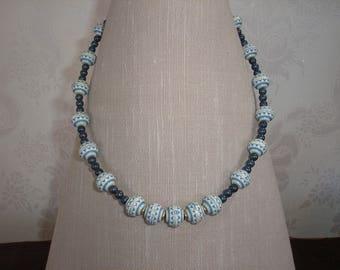 Light blue beaded necklace