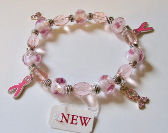 Women's Jewelry, Breast Cancer Awareness, Beaded, Stretch, Charm Bracelet, Charity, Pink Ribbon Charms, Love, Support, Susan G. Komen