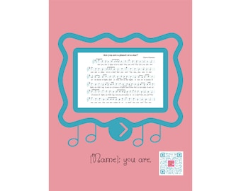 Pink Personalized Poster download sings lullaby for all ages | PRINTABLE | baby girl | baby gift | songs wall art | lullaby wall art