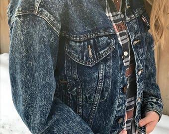 Vintage 1980s Levis Acid Wash Trucker Denim Jacket 57514 1109 Boys L