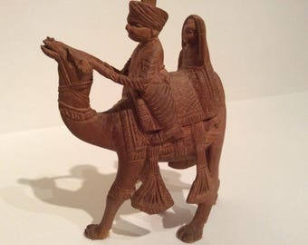 Wooden camel and rider ornament, carved wooden camel, wooden camel,camel, wooden carved camel
