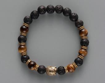 Buddha Lava and wood beads bracelet