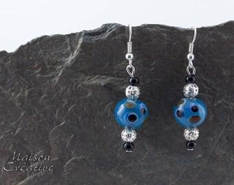 Earrings Blue Glass Lampwork