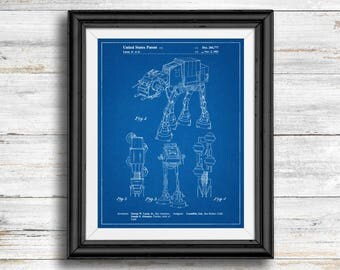 Star Wars AT-AT Full Image Patent Poster, At-At Print, Starwars Art, Star Wars Characters, Vintage, Spaceship, Wall Art Decor