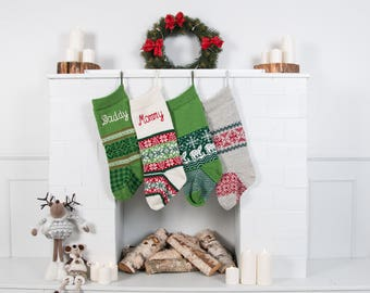 Personalized Christmas stockings, Knit homemade Christmas stocking, handmade knitted stockings, Monogrammed, Set of 4 Green Red White