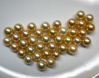 AAA Natural Golden South Sea Cultured Pearl, 9-10mm, Lot 2, For pendant, Earrings and Ring, price per pc