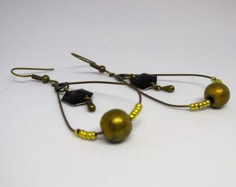 Black/bronze/hematite/modern/geometric/drop/Hexagon/drop/beads/brass drop earrings