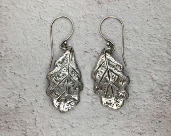 Fine Silver Oak Leaf Earrings