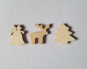 30mm christmas shapes, Wooden christmas shapes, Christmas shapes, Wooden shapes, Wood craft shapes, Christmas, Bell, Reindeer, Tree
