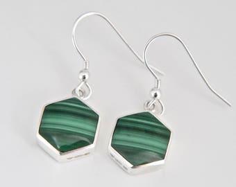 Handmade Silver Malachite Drop Earrings