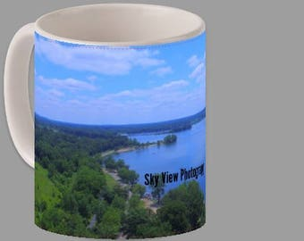 Coffee Cup With A Aerial Picture Of Baw Beese Lake Printed On It