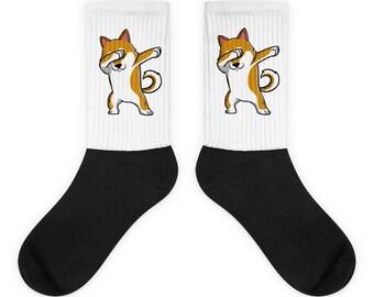 Funny Dabbing Shiba Inu Socks, Cute Shiba Inu Gift, Dog Dab Dance Print