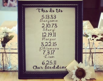 This Is Us - Important Dates Sign -Family Name Sign - Personalized Dates Sign - Family Birthday Sign - Wedding Gift - Mother's Day Gift