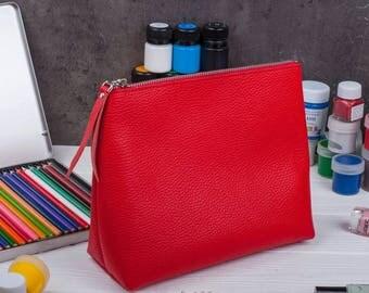 Makeup organizer Gift for her Bridesmaid gift Large makeup bag  Leather makeup bag Makeup storage Makeup bag Makeup case Gift for women