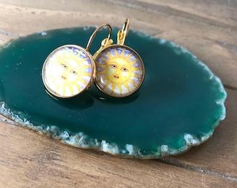 Sun face earrings , sun earrings , glass earrings