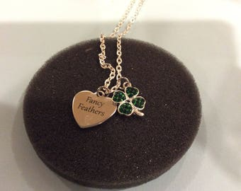 """Fancy Feathers engraved charm necklace with green rhinestone 4h clover charm on 20"""" textured cable chain."""