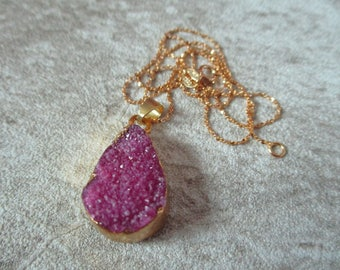 Gold Plated Purple Quartz Druzy Pendant with 925 Gold Sterling Silver (A0086)
