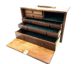 Antique Wooden Watch Makers Chest / Tool Box