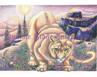 "8""x11"" Cougar/Mountain Lion Print from the original pen and ink by Don Magistrelli"