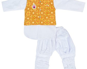 DIAMO Kids Kurta Pyjama and Waistcoat Set for Boys