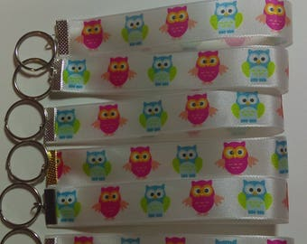 Colorful Owls Ribbon Keyrings