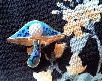 1960's Vintage Blue Enamel Mushroom Brooch Pin