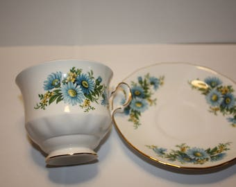 Queen Anne Bone China Cup and Saucer Pattern 8542 Blue/Yellow Flowers Gold Trim