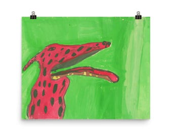 Red Dog with Spots - Beautiful Archival Cotton Rag Fine Art Giclée Print Supporting the Nonprofit Fresh Artists