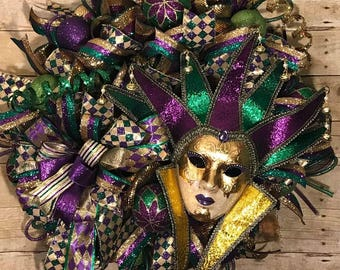 Mardi Gras Wreath, Mardi Gras Mask Wreath, Fat Tuesday Wreath