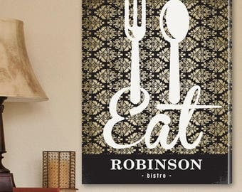 Personalized Bistro Sign Canvas Print - Bistro Canvas Print - Personalized Family Print - Family Wall Decor - Personalized Kitchen Canvas