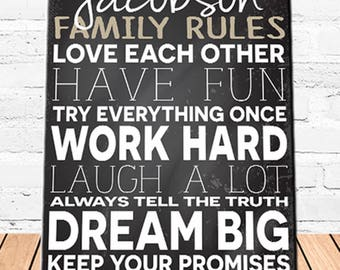 Personalized Family Love Rules Canvas Sign - Family Canvas Print - Personalized Family Print - Canvas Print - Family Wall Decor